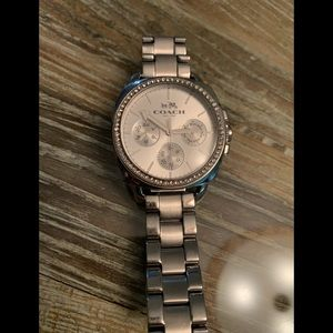 Silver coach watch with rhinestones